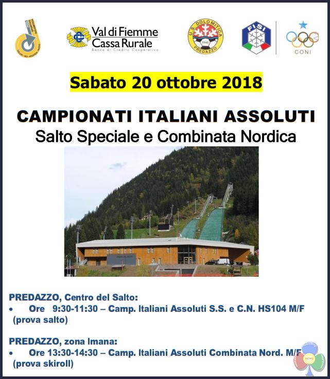 campionati italiani assoluti salto e combinata 2018 CAMPIONATI ITALIANI ASSOLUTI  Salto Speciale e Combinata Nordica