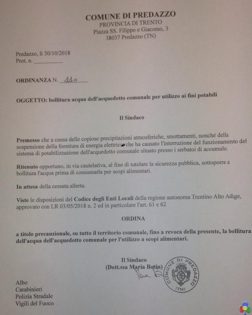 ordinanza acquedotto predazzo 30.10.2018 819x1024 TEMPESTA VAIA trasforma i dintorni di Predazzo   le foto