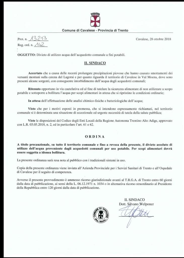 ordinanza sindaco cavalese acquedotto 730x1024 Maltempo in Trentino: protezione civile allertata. Forti piogge domani