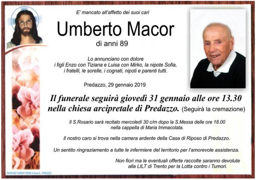 UMBERTO MACOR Avvisi Parrocchia 23.1/3.2 Necrologi Sonia Bosin   Umberto Macor   Laura Occhipinti