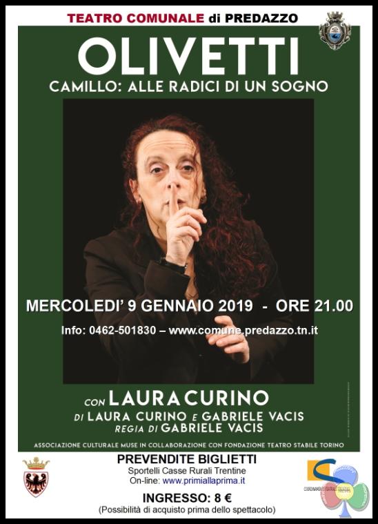 olivetti curino Predazzo 9 gennaio, Il sogno di Olivetti a teatro