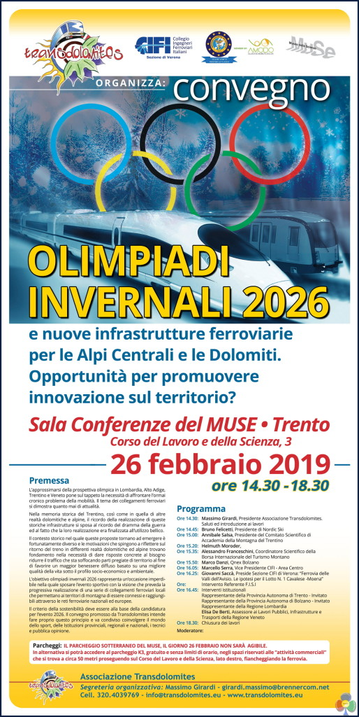 convegno olimpiadi muse transdolomites 514x1024 Olimpiadi Invernali 2026 e ferrovia, convegno al Muse