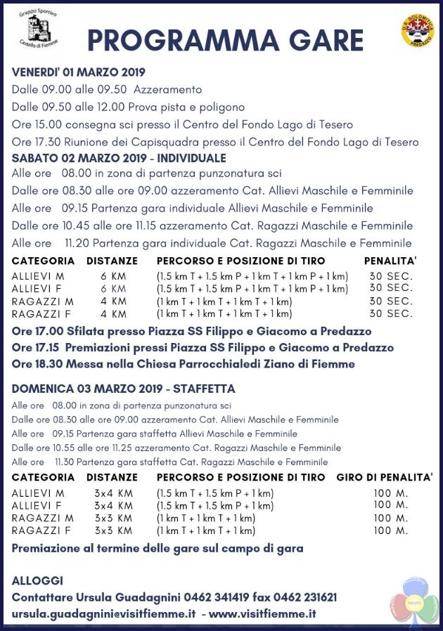 programma gare biathlon 2019 fiemme Campionati Italiani Biathlon Aria Compressa 2019