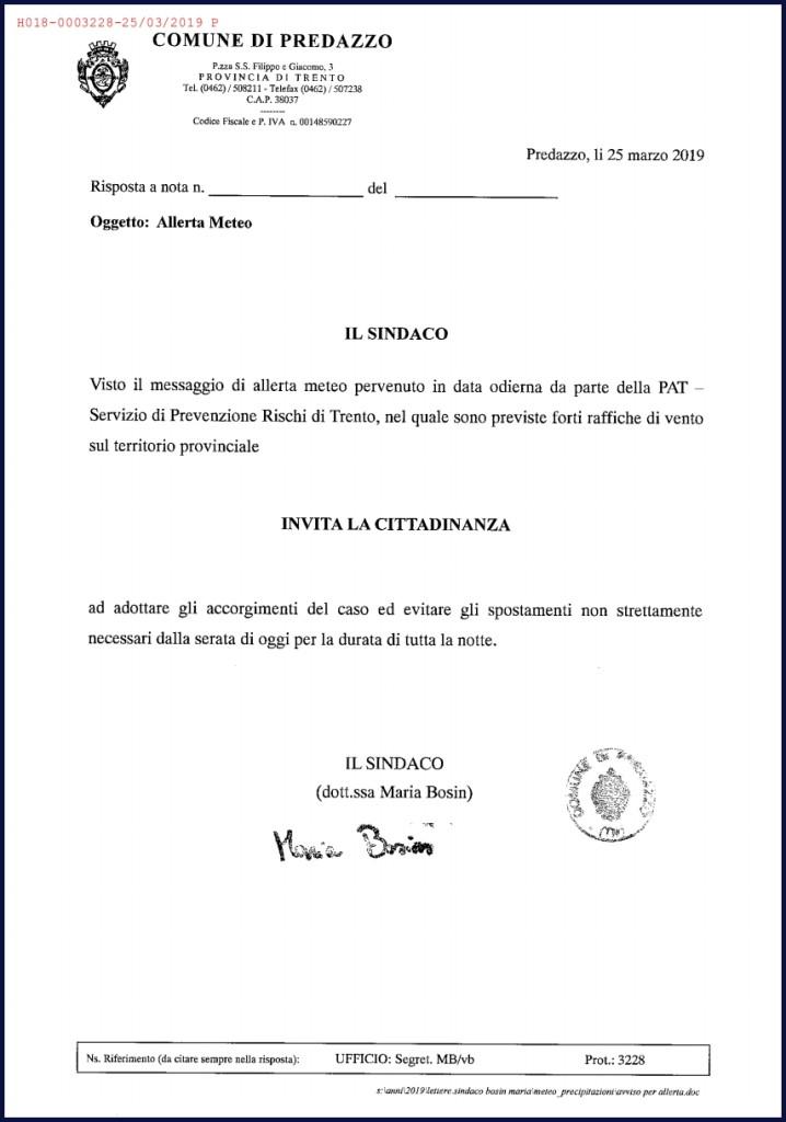 allerta meteo comune predazzo marzo 2019 718x1024 Allerta meteo in Trentino per vento forte 25 26 marzo 2019