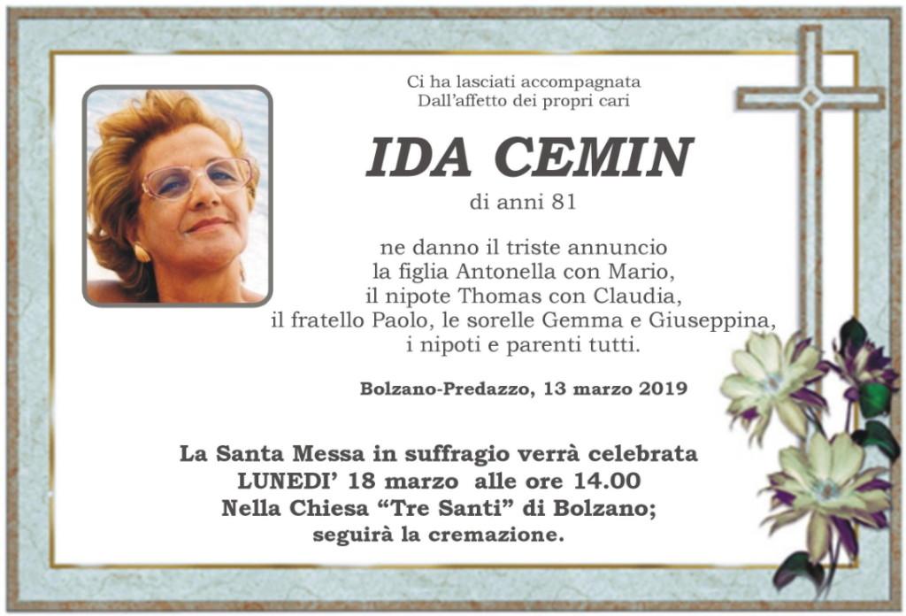 ida cemin 1024x696 Avvisi Parrocchia 17 24 marzo. Necrologio Ida Cemin