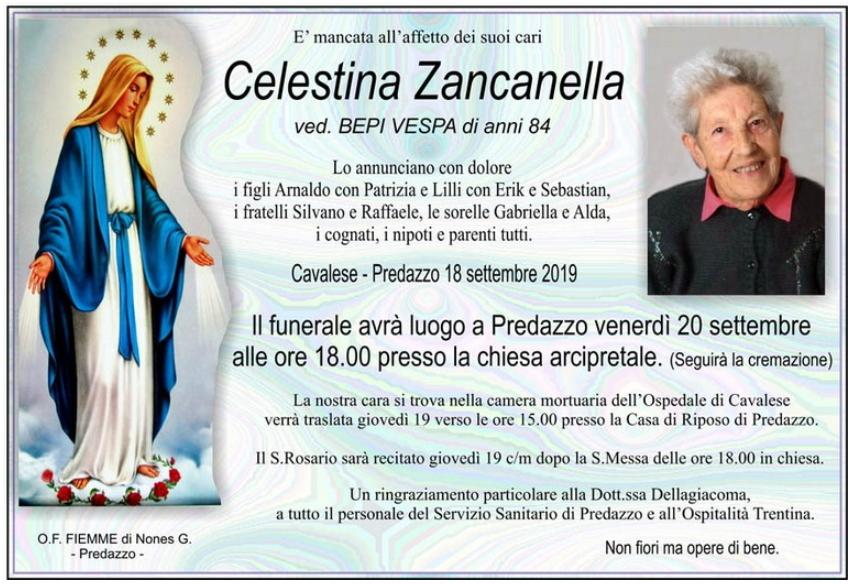 CELESTINA ZANCANELLA Avvisi Parrocchie 22/29 settembre 2019