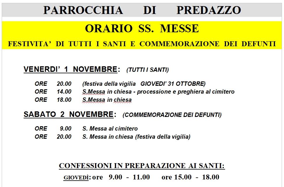 orari messe ognissanti predazzo 2019 Avvisi Parrocchie 27 ott. / 3 nov.
