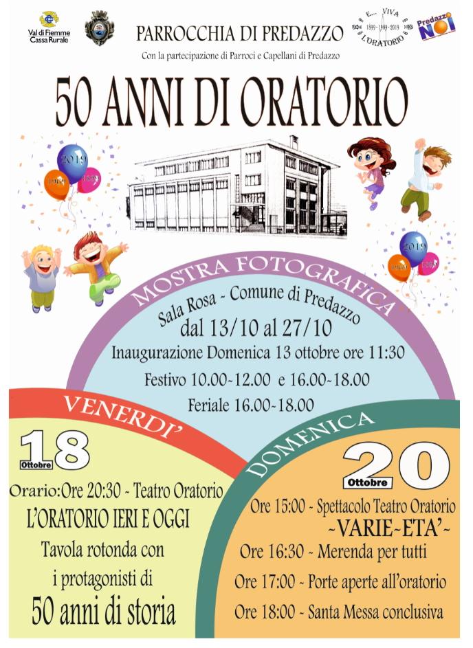 oratorio predazzo 50 anni spettacolo Avvisi Parrocchie 13   20 ottobre 2019