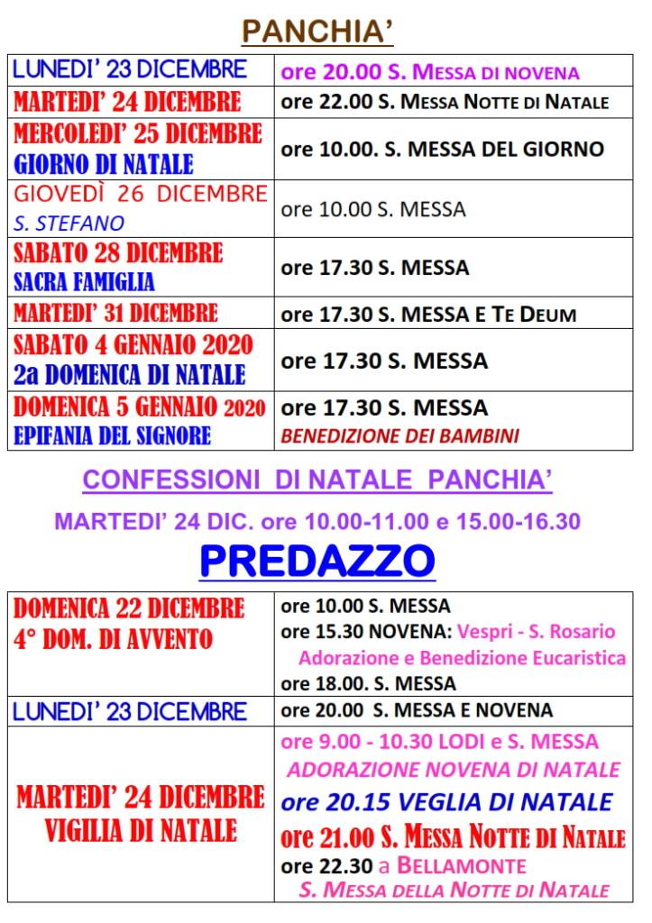 orari messe natale panchia predazzo 2019 723x1024 Orari S. Messe di Natale 2019 Fiemme e Fassa. Avvisi