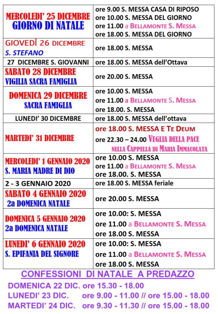 orari messe natale predazzo 2019 709x1024 Orari S. Messe di Natale 2019 Fiemme e Fassa. Avvisi