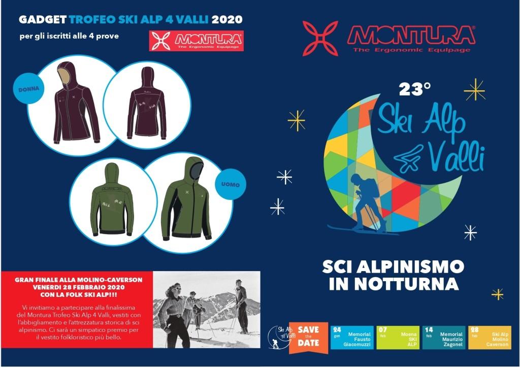 """DEPLIANT Trofeo 4 valli 2020 copertina fronte retro 1024x725 Il 24 GENNAIO AL VIA IL  23' """"MONTURA TROFEO SKI ALP 4 VALLI"""""""