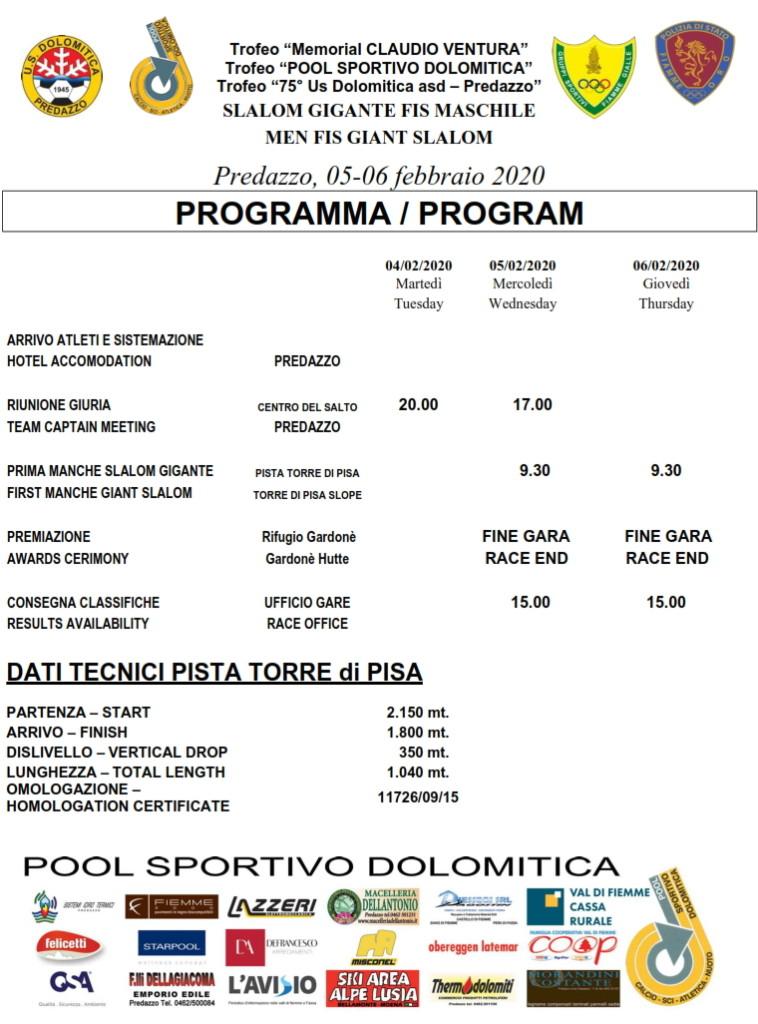 memorial claudio ventura programma 758x1024 SCI: Trofeo Dolomitica e Memorial Ventura allo Ski Center Latemar