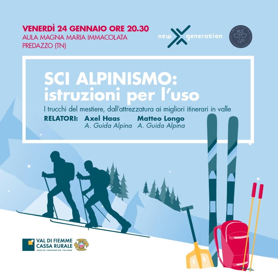 serata sci alpinismo PREDAZZO   Serata per lo scialpinismo con Axel e Matteo