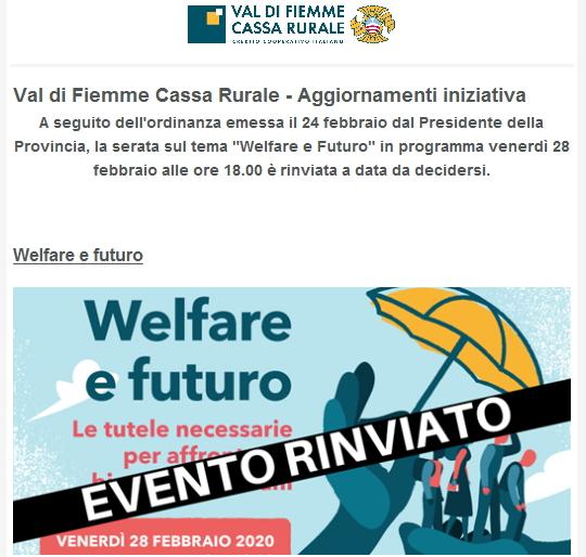 cassa rurale evento rinviato Welfare e Futuro, Serata informativa dedicata alla comunità della Valle di Fiemme