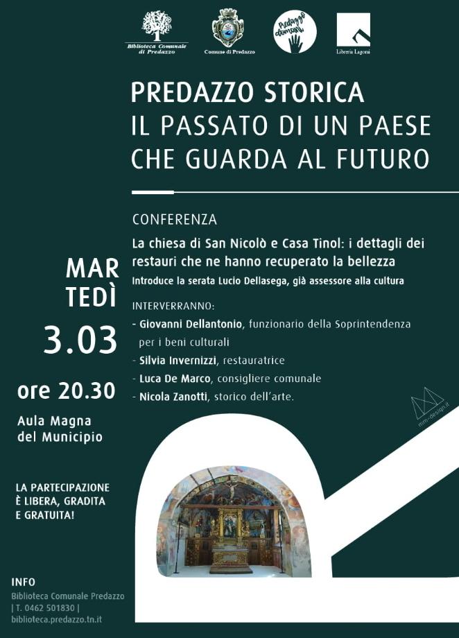 predazzo storica conferenza LA BELLEZZA RECUPERATA DELLA CHIESA DI SAN NICOLÒ E DI CASA TINOL