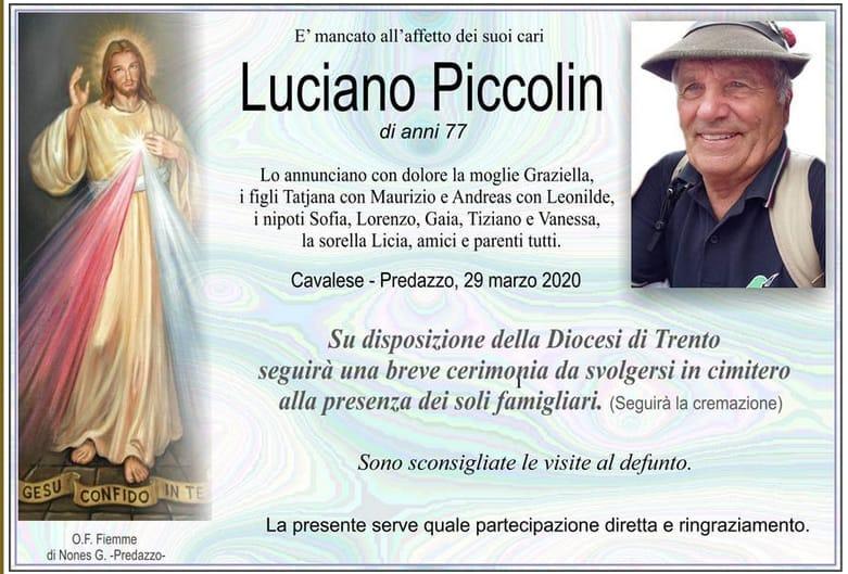 luciano piccolin necrologio Laddio a Luciano Piccolin dagli Alpini di Predazzo